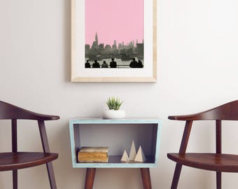 New York Skyline Print, Pink and Grey City Art - New York Nights