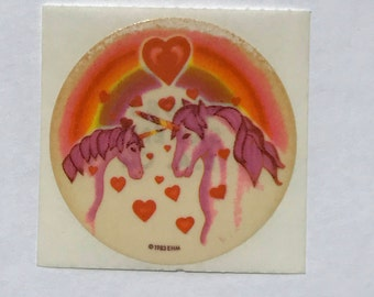 Vintage 80's EHM Unicorn Hearts Rainbow Glossy Sticker Mod