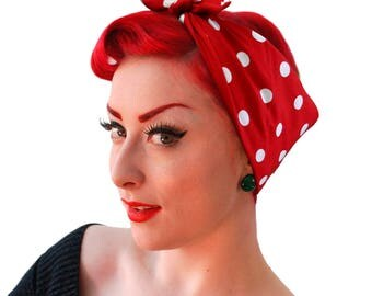 Red polka Dot Bandana - Rosie the Riveter Bandana - Red Polka Dot headscarf - Roller Derby Bandana - Rockabilly Hair Accessories - Retro