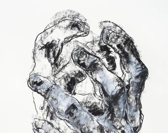 "Expressive Drawing of Hands  - 14 x 17"",  fine art - Drawing 485 - conte and charcoal on paper - original drawing"