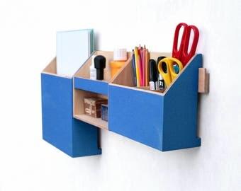 Wall Organizer Blue, Mail organizer, Wall Office Paper organizer, Modern pen holder, Office Mail Storage set, Christmas gift, Black Friday