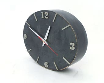 Wood Wall clock, SILENT / NO TICKING Plywood Grey Silver clock, Ellipse Wall decor, Spring Decor Clock, Unique acrylic clock, Mothers day