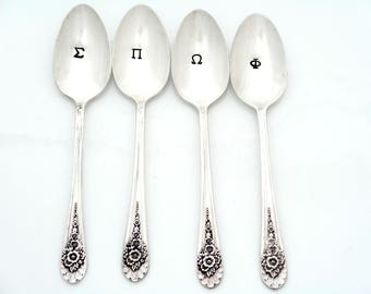 Greek Initials Hand Stamped Spoons. CUSTOM Initials, Letters and Font. The Original Hand Stamped Vintage Coffee Spoons™  by Kelly Galanos