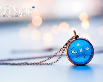 Celestial jewelry, Stars pendant, Blue necklace, dainty jewelry, moon necklace, galaxy jewelry, resin jewelry, inspirational gift for women