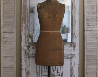 Vintage dress form, mannequin, J R Palmenberg's Son, Model 1944, rolling cage, New York, store display, photo prop, farmhouse decor