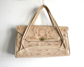Light Tan Tooled Leather Handbag