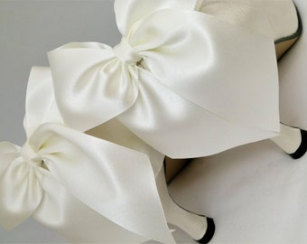 Bridal Shoe Clips Wedding Accessory Ivory Satin Shoe Clips Bows for Shoes by Seriously Sassyx