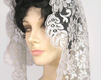 French Lace Mantilla Silver Gray Vintage Calais Lace Church Head Covering Bridal Veil Floral Design