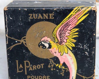 Zuane La Parot Face Powder Box Art Deco Parrot Graphic Vintage Vanity Collectible
