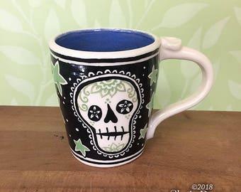 Skull and Stars Mug - stoneware ceramic handmade coffee cup sugar skull mandala dia de los muertos