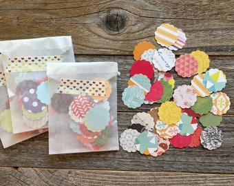 Paper Confetti . Scallop Shape Paper Die Cuts . Book Pages Cardstock Notebook Paper Scrapbooking Smashbooking Mixed Media Art Journaling