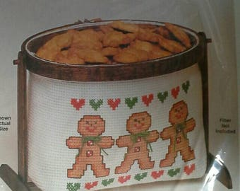 Counted Cross Stitch Kit Gingerbread Boys with Display Hoop and Stand Unopened, NIP