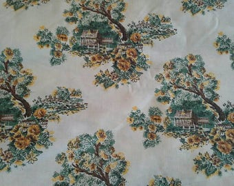 Vintage Decorator Cotton Fabric House in a Garden  5 3/4 Yards X0925 Yellow, Green, Brown