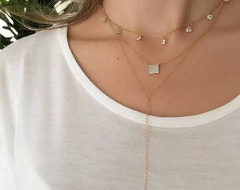 Gold Crystal Lariat Necklace-gold lariat, y necklace, long necklace, dainty necklace, minimalist, gold y necklace