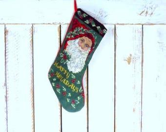 Vintage needlepoint Old World Santa Claus/Happy Holidays Christmas stocking/woven knit xmas sock