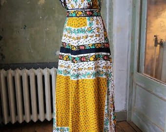 Maxi 70s Folk Hippie Boho Floral Cotton Long Dress   size S/M