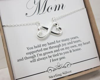Gift for Mom from Bride or Groom 925 sterling silver heart necklace, Mother's Day gift for mom from son or daughter, I love you mom with box