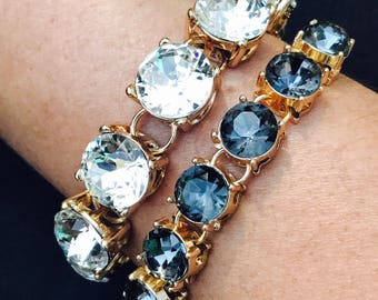 Stunning clear crystal large stone bracelet statement bracelet set of wedding bracelet crystal fun clear bling jewelry bridesmaid gift