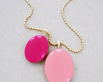 Gold Filled Double Locket Necklace - Heirloom Pendant Style Charm Necklace