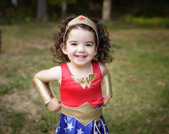 Wonder Woman Dress -  Girls Custom Made Costume, Super Hero inspired Costume, Girls Sizes, Halloween Costumes for Girls