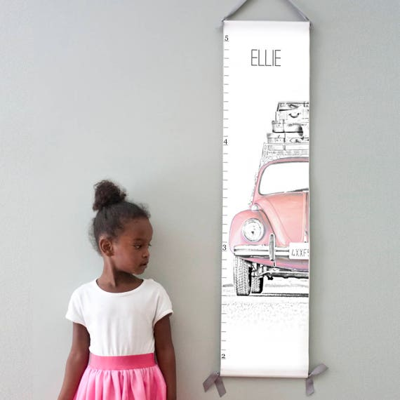 Custom/ Personalized VW Beetle/Bug canvas growth chart in pink