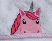 Pink Unicorn Hooded Baby Towel | Baby Towel | Hooded Towel | Unicorn Towel Hooded | Baby Girl Gift | Infant Girl Bath Towel