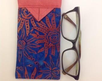 "Blue and Coral Batik Fabric Snap Eyeglasses Case Handmade 3-1/4"" X 6-1/4"""