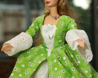 Historic Colonial Barbie dress:  Green Polka Dot Daisies
