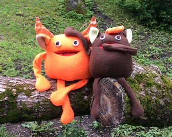Gobble and Munch Friendly Monster - Plush Creature - Monster Softie - 2 Sizes and with or without horns - Happy Monster