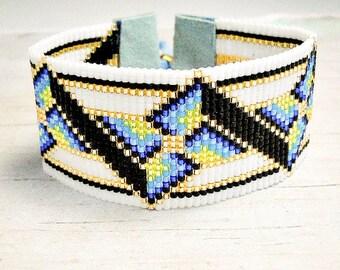 Beaded Cuff Bracelet - Wide Bracelet - Geometric Bracelet - Wide Cuff Bracelet - Seed Bead Bracelet - Adjustable Bracelet - Gifts For Her