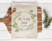 CUSTOMIZABLE Tea Towel Custom Wedding Gift Housewarming Gift Flour Sack Custom Bridal Shower Gift Kitchen Home Decor Gay Marriage Gift