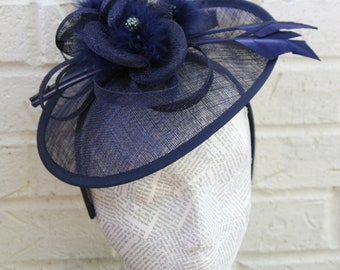 Navy Disc Fascinator, Fashion Hat for Church, Derby, or Mother's Day