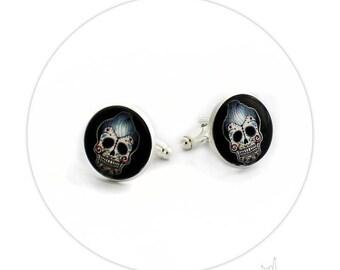 Boutons de Manchette - Tête de mort Rockabilly Mexican Skull Tatouage