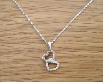 Heart diamond necklace, White gold pendant, Double heart, Necklace with diamonds, Gift for her, Boho, Valentines day gift, Handmade