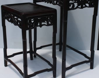 Vintage Asian Oriental Chinese Carved Wood Nesting Stacking Side End Tables Bamboo Asian Oriental Classic Style Set of 2