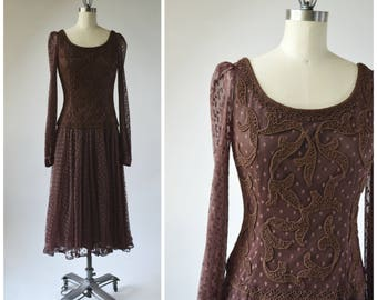 Vintage Brown Knit Dress with Polka Dot Sheer Net and Rope Embroidery Drop Waist Long Sheer Sleeves Swirly Full Skirt Size Medium