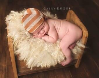 Newborn Elf Hat, Newborn Photo Prop, Sleepy Cap, Knotted Hat, Knit Fabric Elf Hat, Long Cap, Baby Hat, Baby Boy Hat, Stocking Hat, Cream
