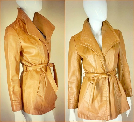 ViNtAgE 70's Leather Jacket 60s HiPPiE BoHo coat Butterscotch huge collar Free People Festival Coachella