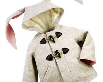 Snowshoe Rabbit Coat// Girl's Bunny Coat// Wool Toggle Bunny Coat// Handmade Girls Winter Coat