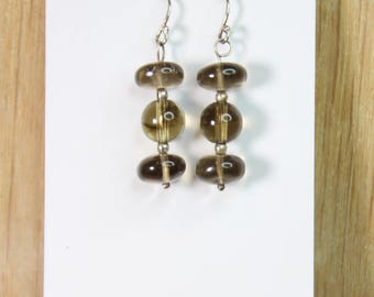 Brown Smoky Quartz Earrings with Sterling Silver hooks E2152
