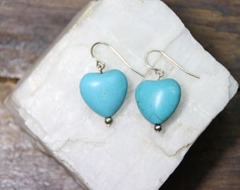 "Light Baby Blue Magnesite Gemstone Valentine Heart Shape 15mm x 16mm 925 Sterling Silver Wire earrings 1.25"" Long"
