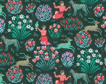Amy Butler Fabric, Forest Friends in Dusk  PWAB165 SPLENDOR, Free Spirit Fabric, Cotton Fabric, Quilt, Quilting, Fabric By the Yard