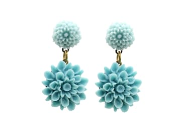 Vintage Turquouse Resin Flower Earrings