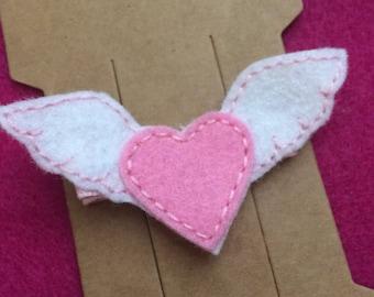 Winged Heart Felt Hair Bow Clip