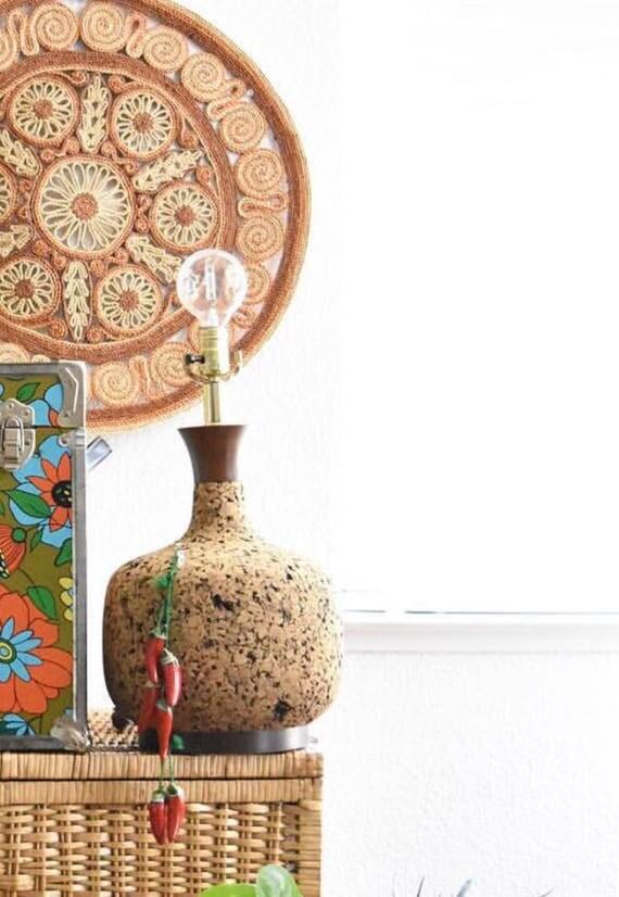 mid century cork wood table lamp