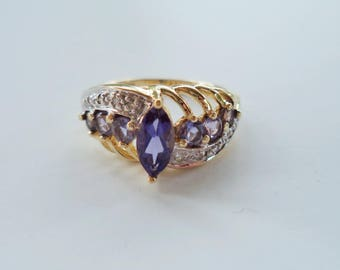 Solid 10K Gold Purple Iolite Gemstone Diamond Ring Size 7.5 Engagement Wedding Ring with Color