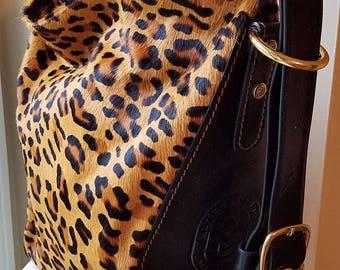Marino Orlandi Italian Leather Faux Fur Handbag