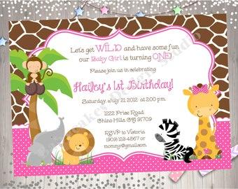 Wild One Safari birthday invitation invite 1st birthday jungle animals invitation invite 1st birthday girl pink printable DIY