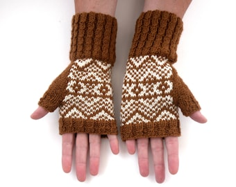Hand knitted wool gloves , knitted in fair isle / stranded knitting , Womens brown white fingerless gloves ,  winter accessory & gift