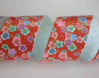 Plum blossoms dancing in red - Japanese print cotton Fabric Sticker/Tape (1 tape = 5 cm x 1m)
